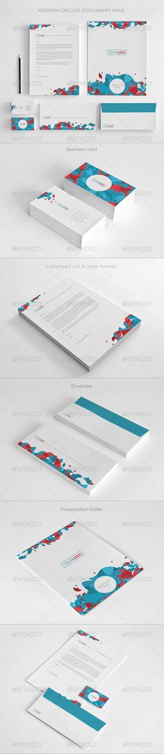 Modern Circles Stationary - Stationery Print Templates
