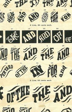 This is for any letterpress wood type junkies out there. From the pages of an old wood type catalog. Vintage Typography, Typography Letters, Typography Logo, Graphic Design Typography, Vintage Logos, Creative Typography, Retro Logos, Gig Poster, Retro Poster