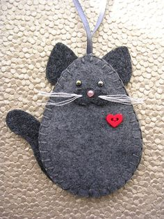 Ornement,+chat+gris+ornement,+ornement+de+chat+gris,+feutre+chat+ornement+de+chat
