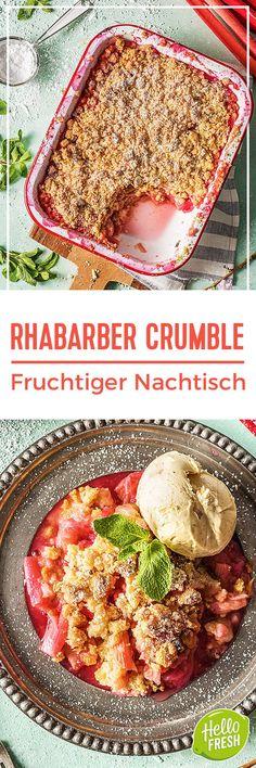 Rezept: Fruchtiger Rhabarber Crumble mit Vanilleeis für 4 Personen. Perfekt für den Sommer als leckeres Dessert oder Hauptgericht mit buttrigen Streuseln. Schmeckt auch Kindern richtig lecker!  Hellofreshde / Kochen / Essen / Ernährung / Kochbox / Zutaten / Gesund / Schnell / Einfach / DIY / Nachtisch / Nachspeise  #hellofreshde #kochen #essen #zubereiten #zutaten #diy #rezept #kochbox #ernährung #gesund #leicht #schnell #einfach #rhabarber #crumble #vanilleeis #nachtisch #dessert…