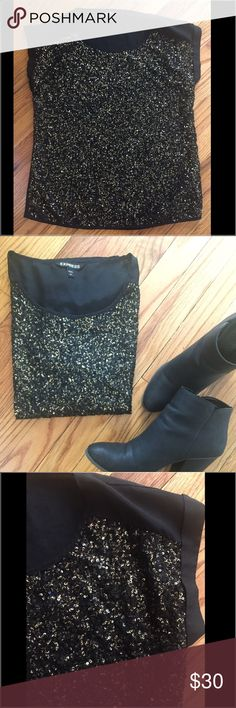 Black with gold sequin blouse Small black and gold sequin blouse from Express. Express Tops Blouses