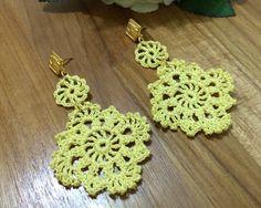Brinco de Crochê Faizah amarelo REF:0014