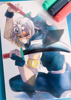 Demon Slayer, Slayer Anime, Character Art, Character Design, Manga Tutorial, Cute Anime Guys, Anime Sketch, Marker Art, Anime Artwork