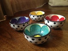 Hand painted flower and polka dot mini bowl, prep bowl, sauce cup, ring dish, pinch bowl Pottery Painting Designs, Pottery Designs, Ceramic Cafe, Ceramic Bowls, Pottery Bowls, Ceramic Pottery, Crackpot Café, Color Me Mine, Paint Your Own Pottery