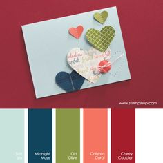 Stampin' Up! Color Combo: Soft Sky, Midnight Muse, Old Olive, Calypso Coral, Cherry Cobbler #stampinupcolorcombos