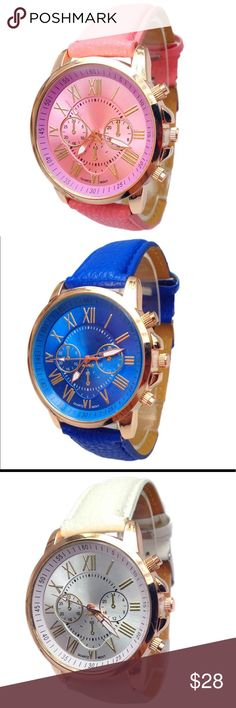 🛒Coming Soon Ladies Faux Roman Numerals Watch Geneva Watches Women Casual Roman Numeral Watch For Men Women PU Leather Quartz Wrist Watch   Clock Queen Esther Etc Accessories Watches