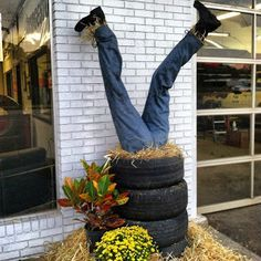 the blog of kim ellis: Our Tire Shop Scarecrow!!