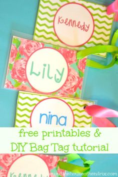 Back to School - DIY personalized Bag Tags and Printables for Lunch Box and Backpack