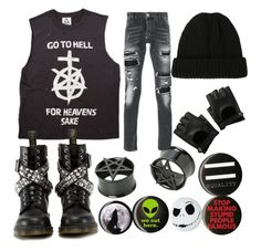 """yo, some clothes"" by back-to-black ❤ liked on Polyvore featuring Dr. Martens, Philipp Plein and Hot Topic"