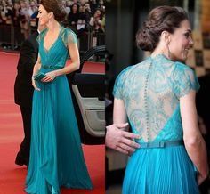 short lace sleeves long chiffon turquoise prom dress evening gown
