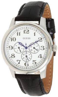 Guess Men's U10082G1 Black Leather Quartz Watch with White Dial GUESS http://www.amazon.com/dp/B00592TSQG/ref=cm_sw_r_pi_dp_FUp-tb097EDRN