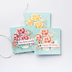 Birthday Cards For Women, Happy Birthday Images, Art Gallery, Square Card, Stamping Up Cards, Card Tutorials, Card Tags, Note Cards, Mini