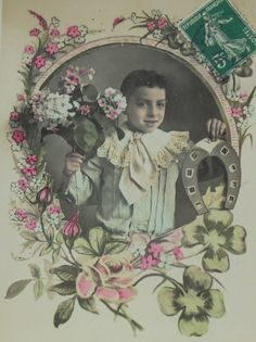 French Antique New Year Postcard - Boy with Horseshoe & Flowers by ChicEtChoc on Etsy