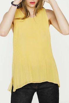 Stylish Scoop Neck Sleeveless Pleated Women's Chiffon Blouse