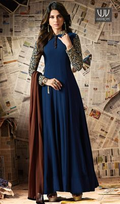 Buy Jennifer Winget Navy Blue Anarkali Suit online from the wide collection of anarkali-suit. This Blue colored anarkali-suit in Faux Georgette fabric goes well with any occasion. Shop online Designer anarkali-suit from cbazaar at the lowest price. Designer Salwar Kameez, Designer Anarkali, Designer Gowns, Indian Designer Wear, Jennifer Winget, Pakistani Dresses, Indian Dresses, Indian Outfits, Abaya Fashion