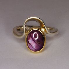 Star Ruby Sterling Silver Ring / Asymmetrical by WatertonJewelry, $1070.00