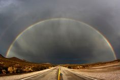 A double rainbow appears after heavy monsoon storms over Nipton Road in Searchlight, Nevada.