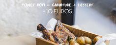 """Hier on a grimpé la petite colline qui mène au Panthéon, on a poussé une porte tout essoufflés et on a découvert le meilleur poulet rôti de Paname. On prendra la formule """"poulet + garniture + dessert à 10 euros m'sieur !"""""""