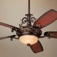 "56"" Casa Esperanza Teak shaded Blades Ceiling Fan - #25187 | LampsPlus.com, $399, look for coupon if purchasing"