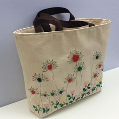 Oversized canvas tote bag hand embroidered with spring