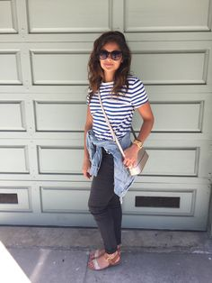 Casual outfit for a day in SF. Striped tee, Kate Spade crossbody, jean jacket, black jeans, sparkly sandals. Summer outfit.