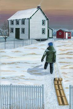 Home from the Hill, Barry Penton. Nostalgic Art, Artist Painting, Acrylic Paintings, Ice Art, Newfoundland And Labrador, Winter's Tale, Canadian Art, Winter Art, Local Artists