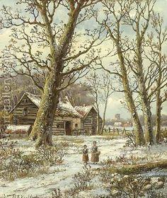 §§§ : Walking in Winter : Hendrik Barend Koekkoek : 1849-1909