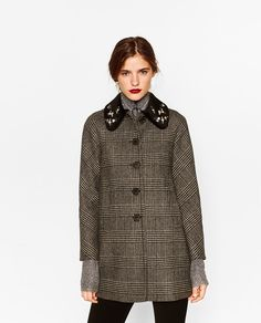 CHECK COAT WITH GEM COLLAR-Outerwear-STARTING FROM 50% OFF-WOMAN-SALE | ZARA United States
