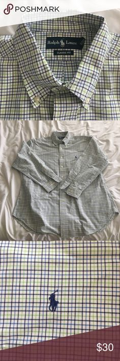 Ralph Lauren Classic Fit Button Up Ralph Lauren Classic Fit button up in navy, blue, green, and white plaid. Button down collar. Freshly dry cleaned and in great condition! Ralph Lauren Shirts Casual Button Down Shirts