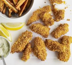 Crunchy fish goujons with skinny chips
