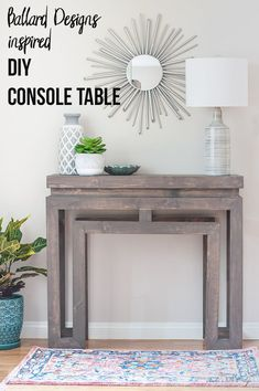 Woodworking Ideas Ballard Designs inspired DIY console table - DIY Ballard Designs-inspired Console Table - love Ballard Designs, but don't love the price? Build your own console table and save hundreds of dollars! Easy Wood Projects, Woodworking Projects That Sell, Diy Woodworking, Popular Woodworking, Woodworking Furniture, Woodworking Magazine, Woodworking Classes, Table Bar, Diy Table