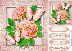 Beautiful Butterfly s and Pink Roses  on Craftsuprint designed by Ceredwyn Macrae - A lovely card to make and give to anyone with Beautiful Butterfly's and Pink Roses has three greeting tags and a blank one for you to choose the sentiment, - Now available for download!