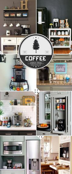 Home Barista: Kitchen Coffee Station Ideas and Designs – Home Tree Atlas Not thrilled about any of these but would like to have a tea/coffee station where we can keep containers/boxes of tea and coffee, hot water kettle and coffee maker. Coffee Bar Station, Coffee Station Kitchen, Coffee Bars In Kitchen, Coffee Bar Home, Home Coffee Stations, Beverage Stations, Coffee Nook, Coffee Maker, Coffee Iv