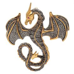 Vintage 6.20 ct. Rose Cut Diamond Dragon Brooch & Pendant.