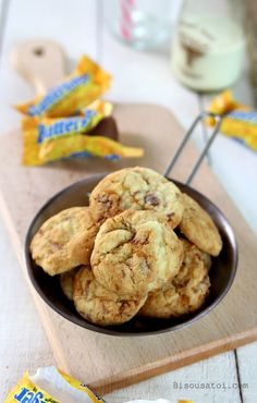 Chewy Butterfinger Cookies - birthday surprise for husband! Accents the butterfingers well.