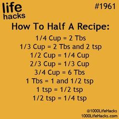 "Awesome Life Hacks Everyone Should Try Who couldn't use a few tips and tricks to make their life a little bit easier? Everyone can, which is why we put together some of the top simple solutions and ""hacks"" fro… 1000 Lifehacks, Half And Half Recipes, How To Half A Recipe, Kitchen Measurements, Recipe Measurements, Think Food, Simple Life Hacks, Awesome Life Hacks, Baking Tips"