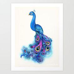 Peacock Decor // Peacock Bird Art // Giclee Print - FREE SHIPPING // Peacock Watercolor Painting // Peacock Wall Art