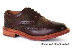 Chatham Men s Lewis Leather Tweed Brogues - Dark Brown Goodyear welted brogue on a commando sole The upper part of the Brogue features a combination of premium leather and British tweed from Lovat Mill.