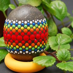 Mandala Designed Egg/ Mandala stone/ Hand Painted Eggs/ Big egg rocks/ Beach stones/ Rocks nature decor/ Paperweight Rock by Mandalaole on Etsy