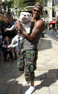 Two of my favorites: Shemar Moore and bulldogs