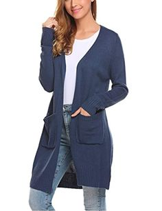 81d1189b20 Women s Open Front Long Sleeve Classic Knit Sweater Cardigan with Pockets     Be sure to