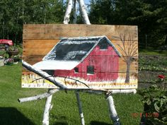 Using my pallet painting in my yard 2016 Barn painting: Dennis Rawluk