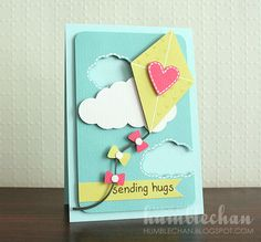 card kite, fly a kite, Sending Hugs created by Chan Vuong - kite card - fly a kite - flyve med drage - kitecard - up up and away Cricut Cards, Stampin Up Cards, Tarjetas Diy, Get Well Cards, Card Making Inspiration, Copics, Card Tags, Paper Cards, Creative Cards