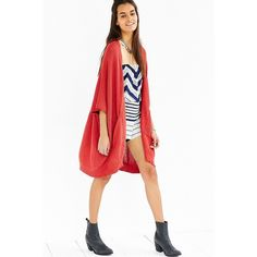 Ecote Hilary Cardigan ($59) ❤ liked on Polyvore featuring tops, cardigans, red, white cardigan, white open front cardigan, knit cardigan, open front knit cardigan and red cardigan