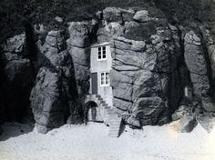"ROWENA CADE'S BEACH HUT(c.1953) | Porthcurno, Cornwall (citation ""Rowena Cade's beach hut,"" cornishmemory.com, accessed March 12, 2017, http://cornishmemory.com/item/CTR_8_1001.) ✫ღ⊰n"