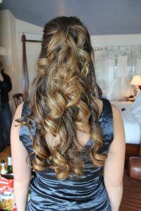 healthy, long beautiful hair. curled bridesmaid hair, half up half down bridal hair