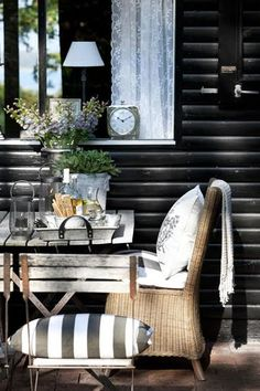 black and white porch decor