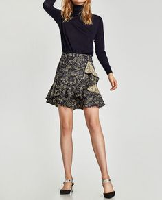 Image 2 of FLORAL SKIRT WITH DOUBLE RUFFLE from Zara