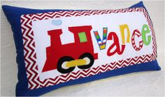 Personalized  Pillow Cover - On the Go -  Train Pillow  Boy Name Throw  Applique Pillow Children Gift on Etsy, $20.00