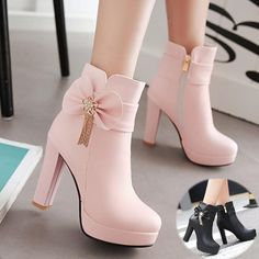 White/Pink/Black Pastel Bow High Heel Boots Source by rdwijulianto shoes high heels Cute Heels, Lace Up Heels, Pumps Heels, Stiletto Heels, Pink Heels, High Heel Boots, Heeled Boots, Shoe Boots, Women's Shoes